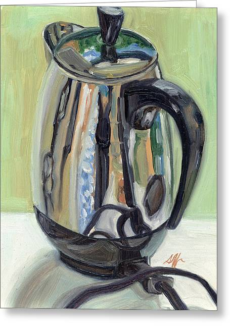 Vintage Appliance Greeting Cards - Old Reliable Stainless Steel Coffee Perker Greeting Card by Jennie Traill Schaeffer