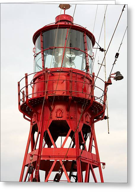 Iron Greeting Cards - Old restored lightship. Greeting Card by Jan Brons