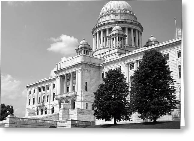 Historical Buildings Photographs Greeting Cards - Old Rhode Island State House BW Greeting Card by Lourry Legarde