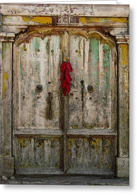 Old Ristra Door Greeting Card by Kurt Van Wagner