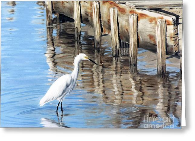 Reflection In Water Greeting Cards - Old River Wharf in Matagorda Greeting Card by Jimmie Bartlett