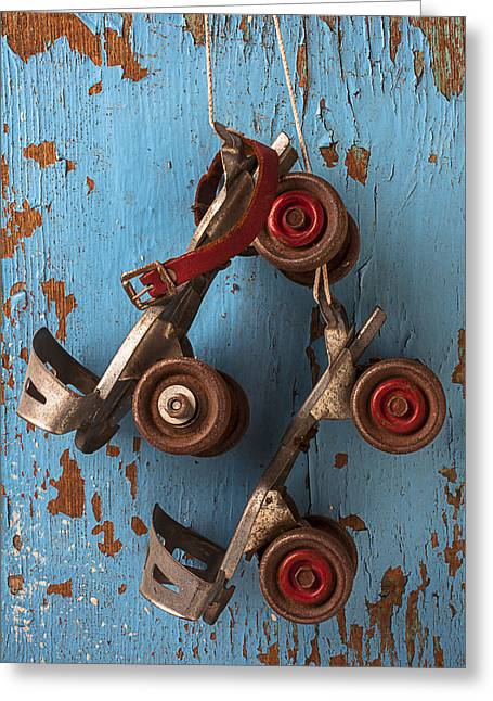Old Skates Photographs Greeting Cards - Old roller skates Greeting Card by Garry Gay