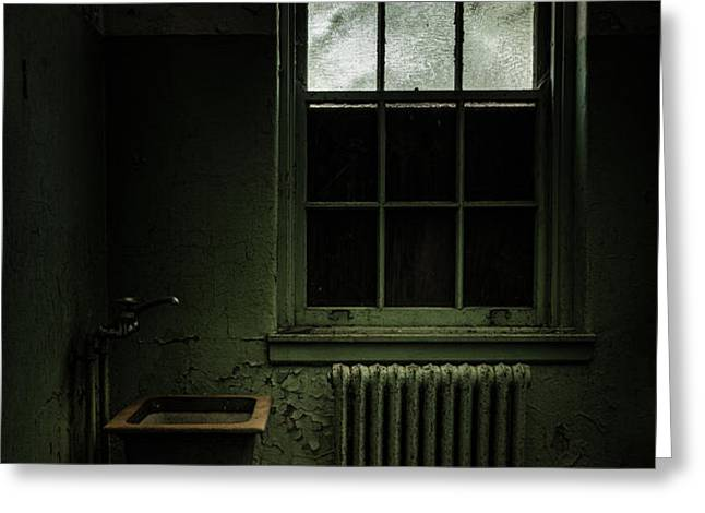 Old room - Abandoned Asylum - The presence outside Greeting Card by Gary Heller