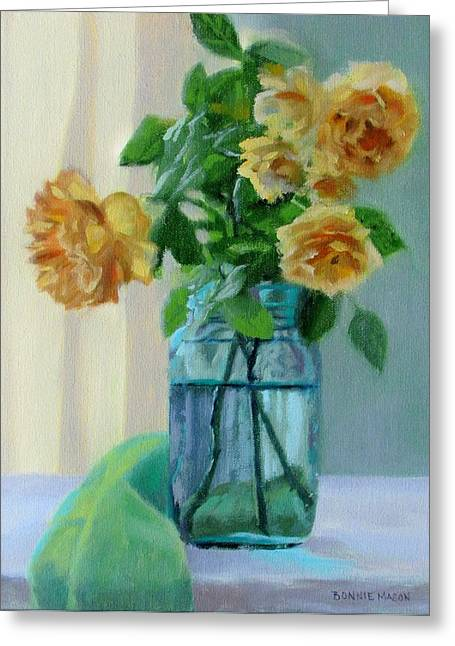 Blue And Green Greeting Cards - Old Roses Greeting Card by Bonnie Mason