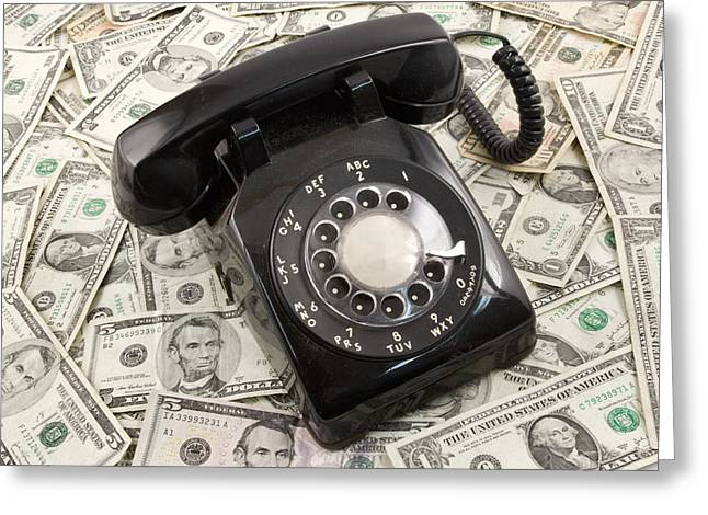 Telecommunications Greeting Cards - Old Rotary Phone On Money Background Greeting Card by Keith Webber Jr