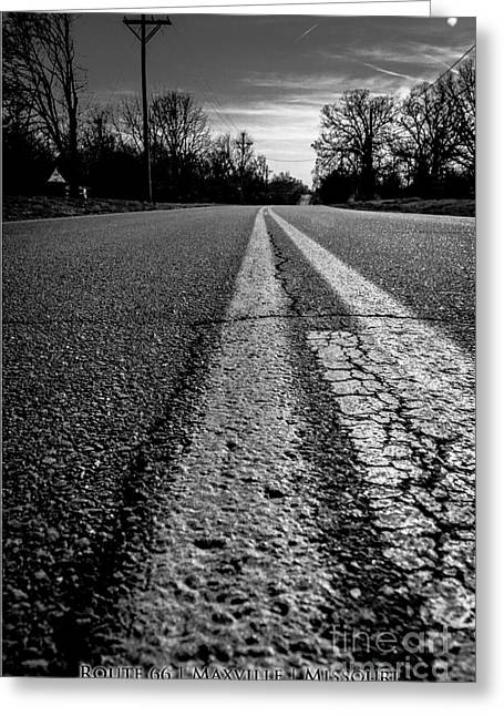 Old Roadway Greeting Cards - Old Route 66 Highway Greeting Card by JC Kirk
