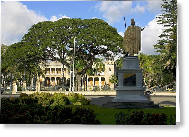 Kamehameha Greeting Cards - Old Royal Palace Honolulu Greeting Card by Linda Phelps