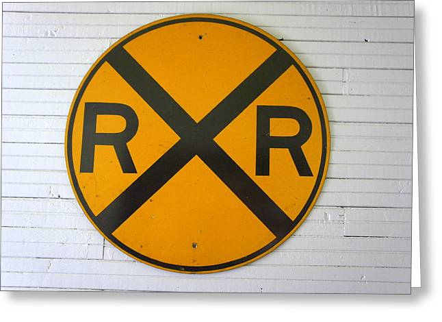 Old Roadway Greeting Cards - Old RR Sign Greeting Card by Laurie Perry
