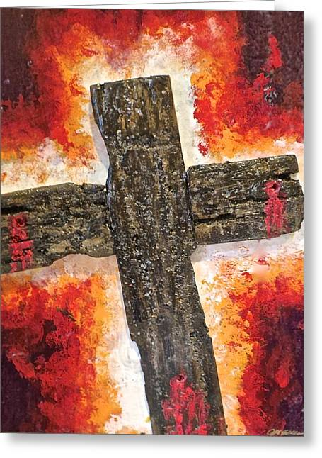 Van Dyke Brown Greeting Cards - Old Rugged Cross Greeting Card by Jim Ellis