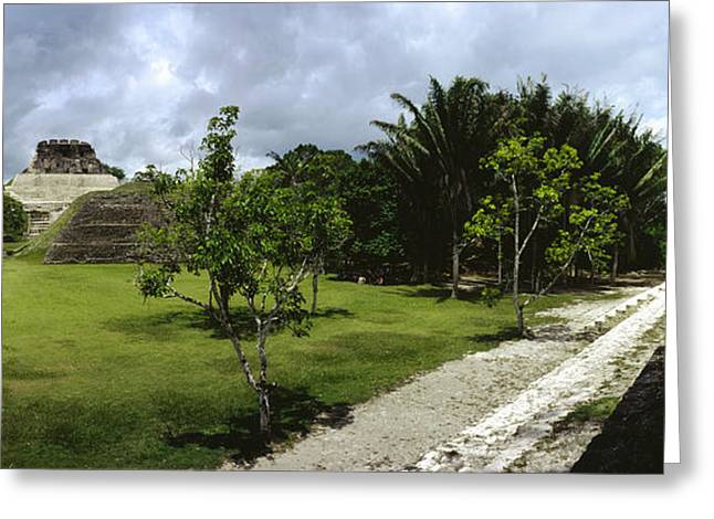 Overcast Day Greeting Cards - Old Ruins Of A Temple In A Forest Greeting Card by Panoramic Images