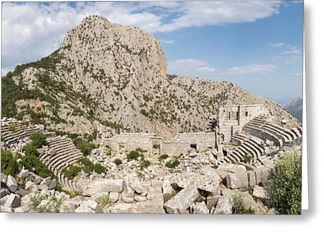 Greek Ruins Greeting Cards - Old Ruins Of An Amphitheater Greeting Card by Panoramic Images