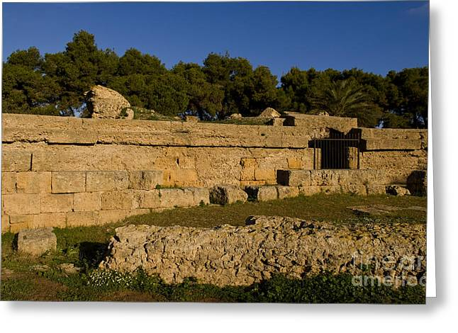 Northern Africa Photographs Greeting Cards - Old Ruins Of Roman Amphitheater, Tunisia Greeting Card by Bill Bachmann