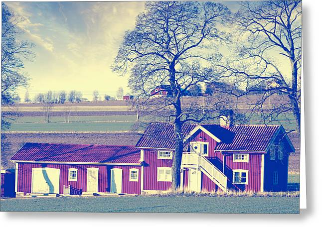 Environment-friendly Greeting Cards - Old Rural Farm In Vintage Country Greeting Card by Christian Lagereek