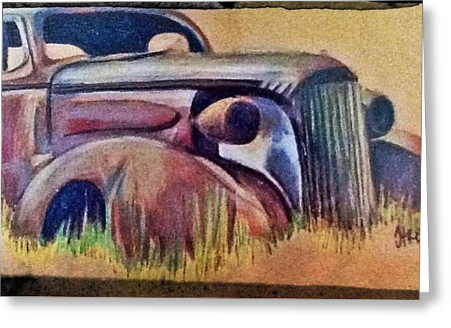 Rusted Cars Drawings Greeting Cards - Old rust Greeting Card by Helen Bowman
