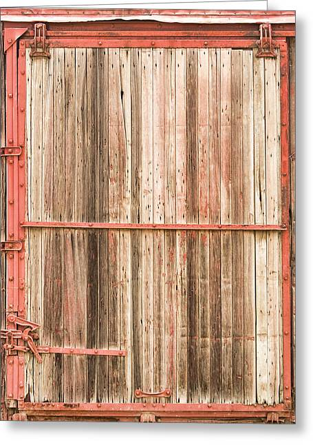 Car Doors Greeting Cards - Old Rustic Railroad Train Car Door Greeting Card by James BO  Insogna