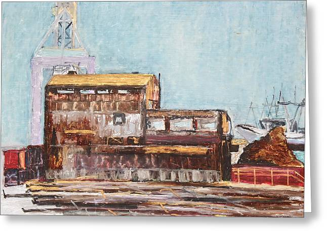 Mound Drawings Greeting Cards - Old Rustic Schnitzer Steel Building with Crane and Ship Greeting Card by Asha Carolyn Young