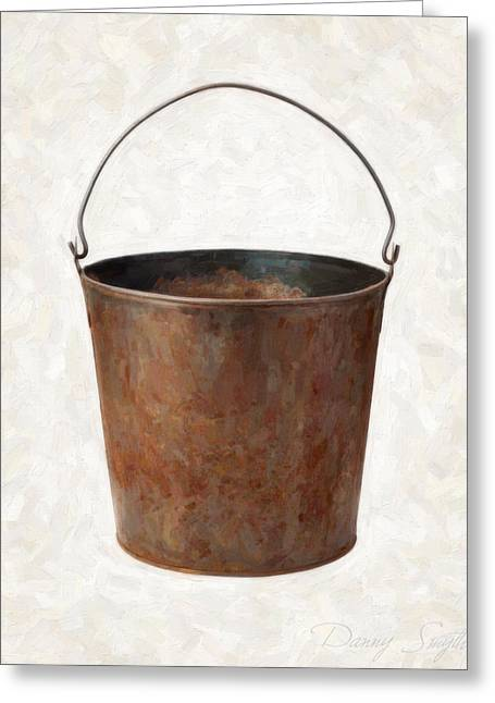 Old Objects Paintings Greeting Cards - Old Rusty Bucket Greeting Card by Danny Smythe