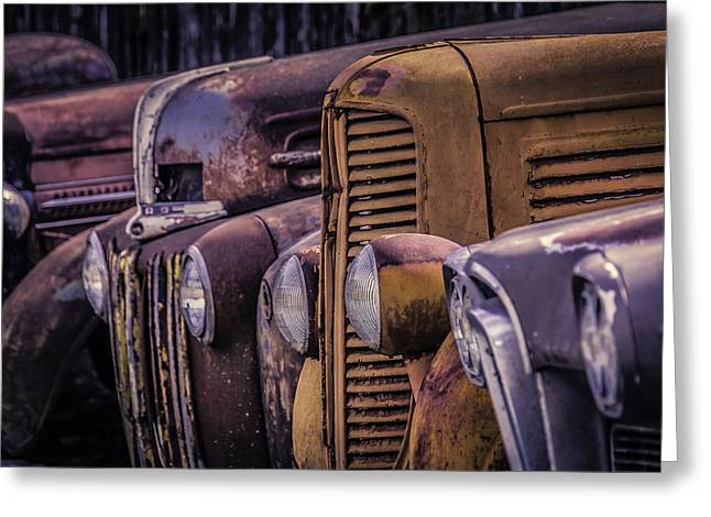 Headlight Greeting Cards - Old Rusty Cars Greeting Card by Garry Gay