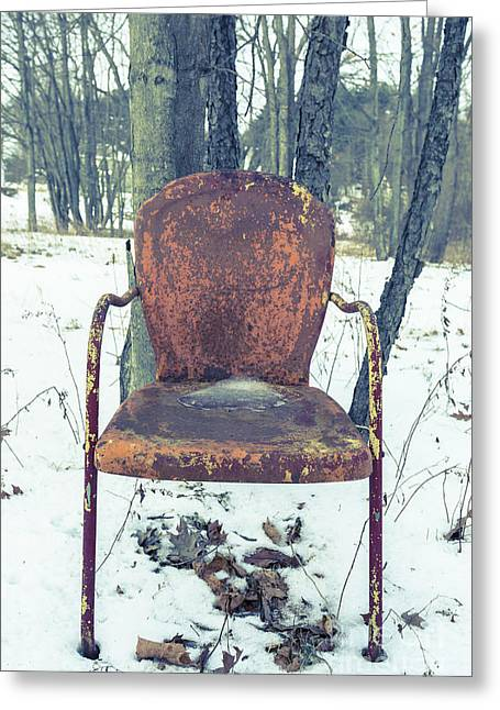 Left Behind Greeting Cards - Old Rusty Chair in the Woods Greeting Card by Edward Fielding