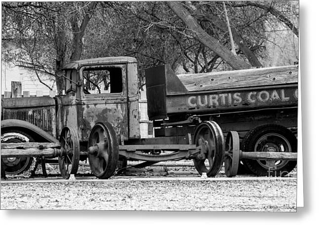 Old Trucks Greeting Cards - Old Rusty Coal Delivery Truck  Greeting Card by Gary Whitton