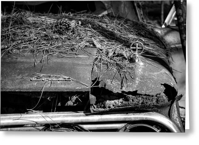 Old Rusty Mercury Comet In Black And White Greeting Card by Greg Mimbs