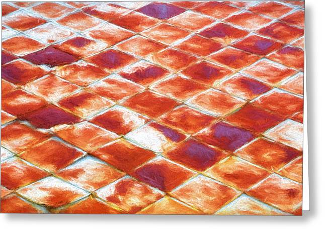Metal Roof Greeting Cards - Old Rusty Metal Roof Tiles Painted   Greeting Card by Rich Franco