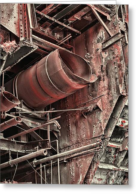 Abandoned Mill Greeting Cards - Old Rusty Pipes Greeting Card by Paul Ward