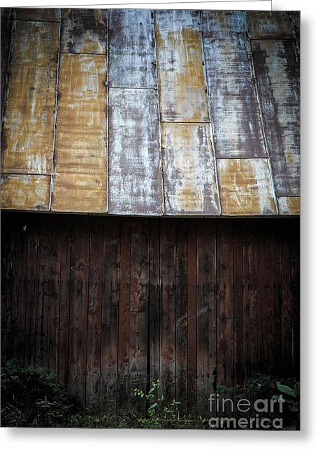 Old Farm Greeting Cards - Old Rusty Tin Roof Barn Greeting Card by Edward Fielding
