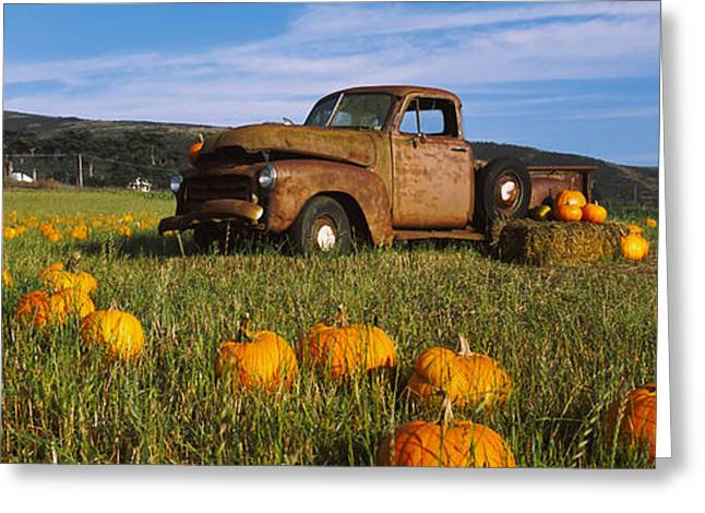 Old Truck Photography Greeting Cards - Old Rusty Truck In Pumpkin Patch, Half Greeting Card by Panoramic Images