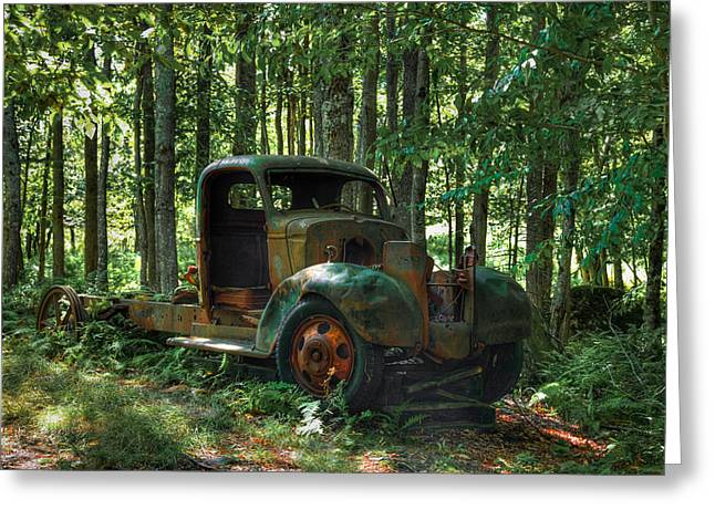 Old Trucks Greeting Cards - Old Chevy Maple Leaf Truck on Maple Ridge Greeting Card by David Patterson