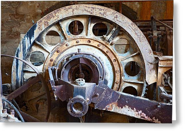 Technical Photographs Greeting Cards - Old Rusty Vintage Industrial Machinery Greeting Card by Dirk Ercken