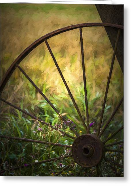 Spokes Greeting Cards - Old Rusty Wheel Greeting Card by Erik Brede