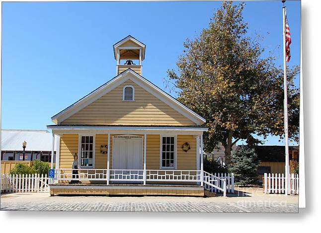 Old School House Greeting Cards - Old Sacramento California Schoolhouse 5D25541 Greeting Card by Wingsdomain Art and Photography