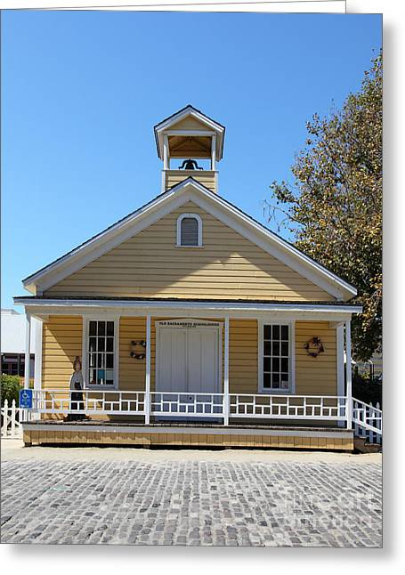 Old School House Greeting Cards - Old Sacramento California Schoolhouse 5D25543 Greeting Card by Wingsdomain Art and Photography