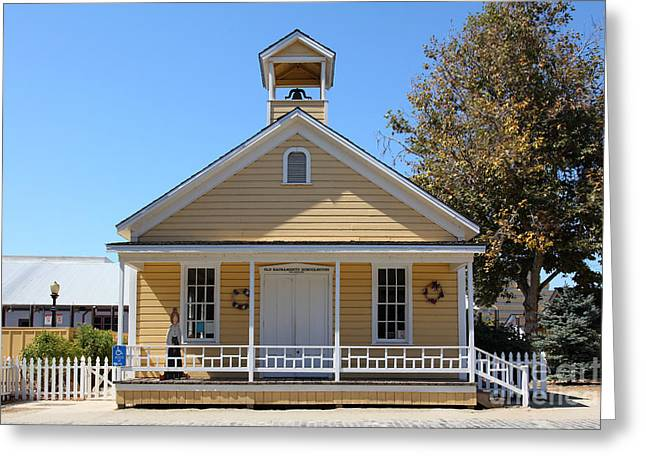 Old School House Greeting Cards - Old Sacramento California Schoolhouse 5D25544 Greeting Card by Wingsdomain Art and Photography