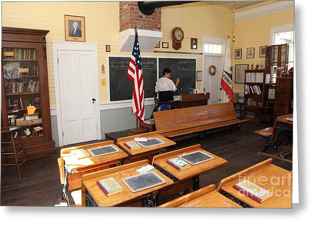 Old School House Greeting Cards - Old Sacramento California Schoolhouse Classroom 5D25780 Greeting Card by Wingsdomain Art and Photography