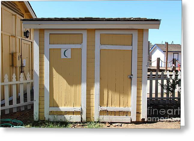 Old School House Greeting Cards - Old Sacramento California Schoolhouse Outhouse 5D25549 Greeting Card by Wingsdomain Art and Photography