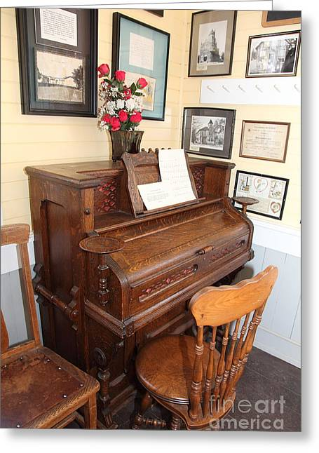 Old School House Greeting Cards - Old Sacramento California Schoolhouse Piano 5D25783 Greeting Card by Wingsdomain Art and Photography