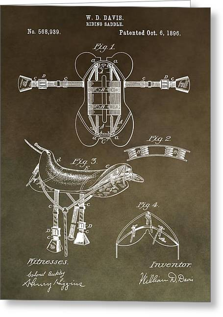 Equestrianism Greeting Cards - Old Saddle Patent Greeting Card by Dan Sproul