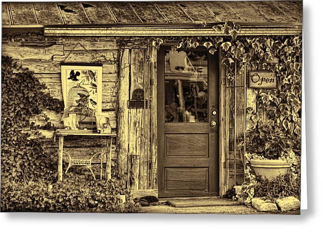 Cabin Window Greeting Cards - Old Salado Log Cabin Shop Sepia Greeting Card by Linda Phelps