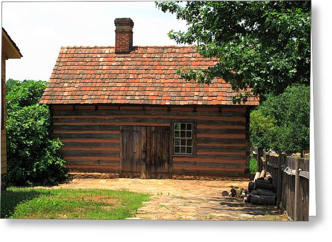 Pioneer Homes Photographs Greeting Cards - Old Salem Cottage Greeting Card by Frank Romeo