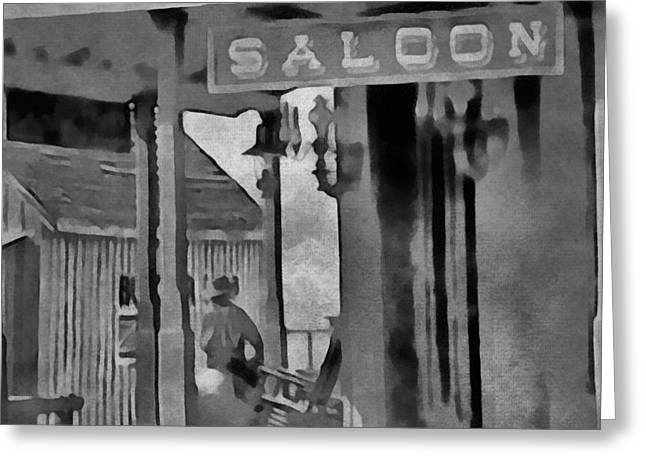 Country Music Town Greeting Cards - Old Saloon Out West Greeting Card by Dan Sproul