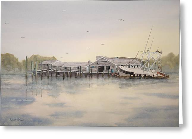 Boats At Dock Greeting Cards - Old Salt Greeting Card by Gregg Litchfield