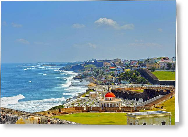 Tropical Island Greeting Cards - Old San Juan Coastline 2 Greeting Card by Stephen Anderson