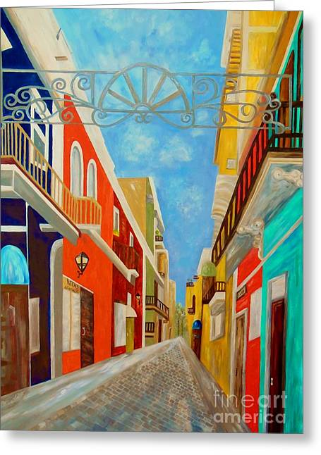 Tropic Greeting Cards - Old San Juan Greeting Card by Eloise Schneider