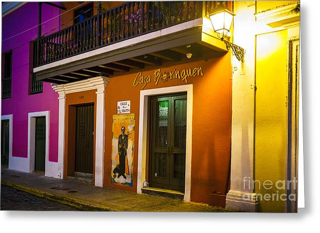 Old San Juan Greeting Cards - Old San Juan Night Street Ambience Greeting Card by George Oze