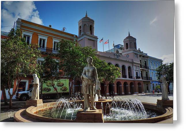 Puerto Rican Greeting Cards - Old San Juan - Plaza de Armas  Greeting Card by Lance Vaughn