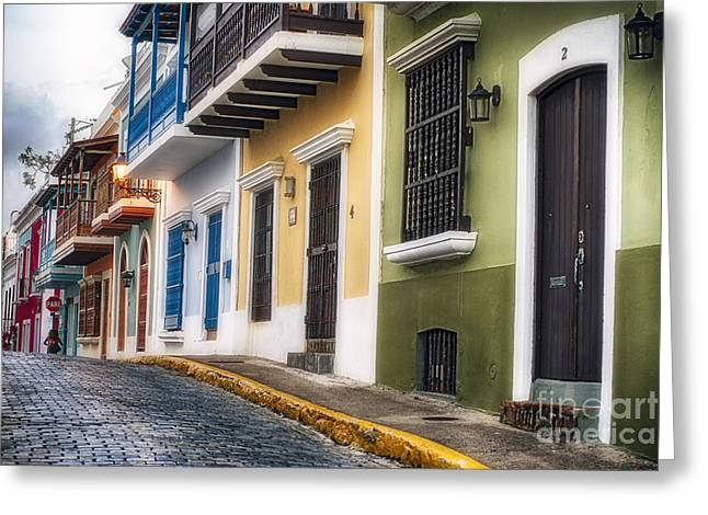 Caribbean Architecture Greeting Cards - Old San Juan Street Charm I Greeting Card by George Oze