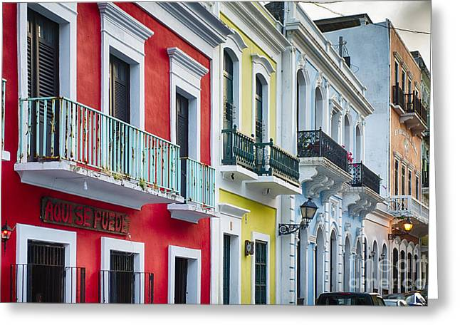 Caribbean Architecture Greeting Cards - Old San Juan Street Charm II Greeting Card by George Oze