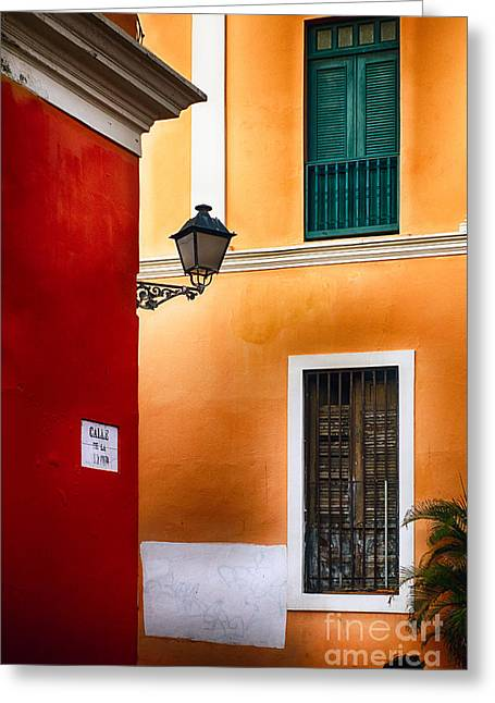 Caribbean Corner Greeting Cards - Old San Juan Street Corner Charm Greeting Card by George Oze